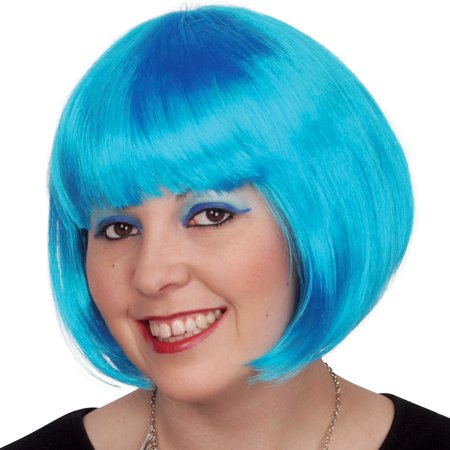 Loftus Blue Bob Cut Rave Party Short Bangs Women Wig, Blue, One-Size](Short Light Blue Wig)