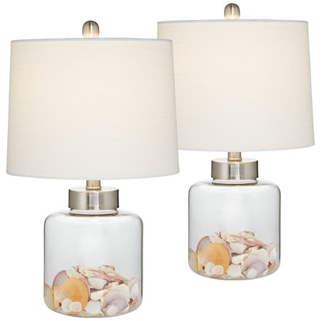 360 Lighting Coastal Accent Table Lamps Set of 2 Small Clear Glass Fillable Shells White Drum Shade for Living Room Family Bedroom ()