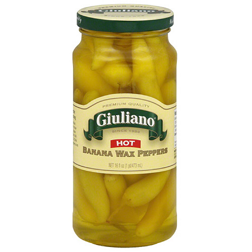Giuliano Hot Banana Wax Peppers, 16 fl oz, (Pack of 6)