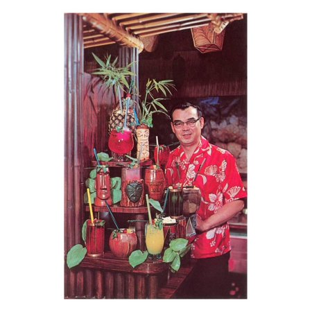 Tiki Man with Exotic Drinks, Retro Print Wall - Tiki Drinks