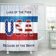 CYNLON Red USA Patriotic Land of The Blue White 4Th Bathroom Decor Bath Shower Curtain 60x72 inch
