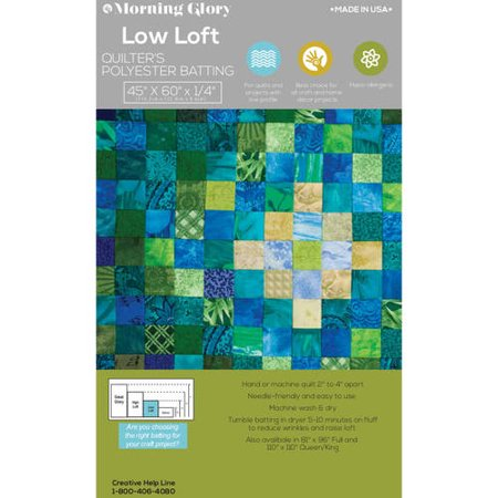 Morning Glory Low Loft Batting, 45; x 60;, 2 pack