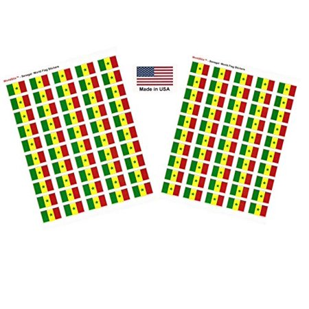 """Made in USA! 100 Country Flag 1.5"""" x 1"""" Self Adhesive World Flag Scrapbook Stickers, Two Sheets of 50, 100 International Sticker Decal Flags Total (Senegal)"""
