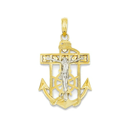 14k Gold Mariners Cross - 14K White and Yellow Gold Mariner Anchor Cross Charm Pendant - 33mm