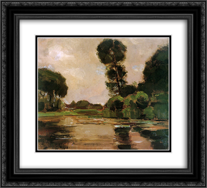Piet Mondrian 2x Matted 22x20 Black Ornate Framed Art Print 'Lonely tree at the Gein Sun'