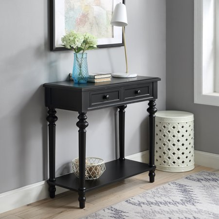 Yarmouth 2-drawer Turned Leg Console Table, Black