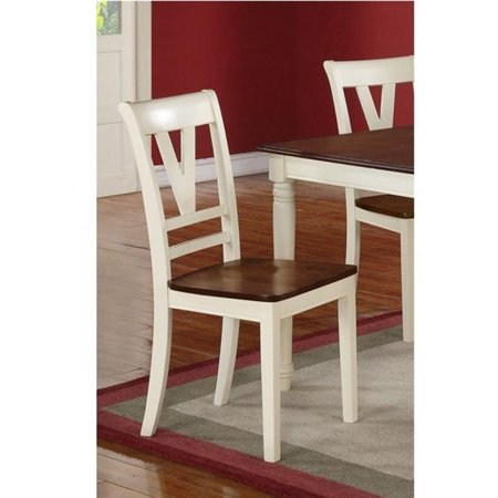 Benzara BM171513 37 x 18 x 22 in. Wooden Two-Tone Finish Dining Chair, White & Brown - image 1 of 1
