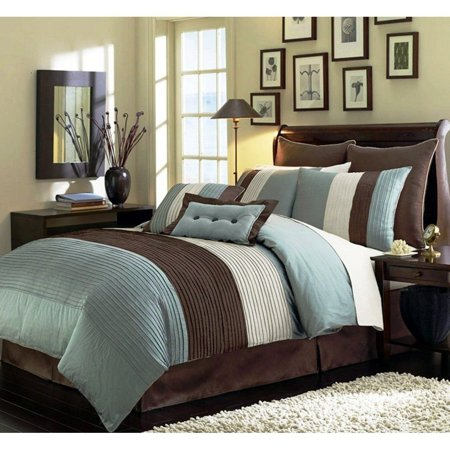 Chezmoi Collection Loft 8-Piece Luxury Pintuck Pleated Striped Comforter Set