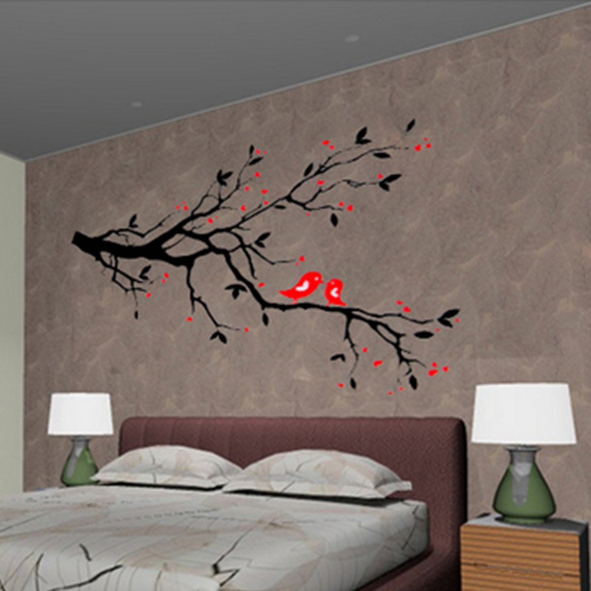 "19.68""x27.55"" Love Heart Tree Bird windowsticker Removable Vinyl Wall Decal Sticker Art Mural Home Decor"