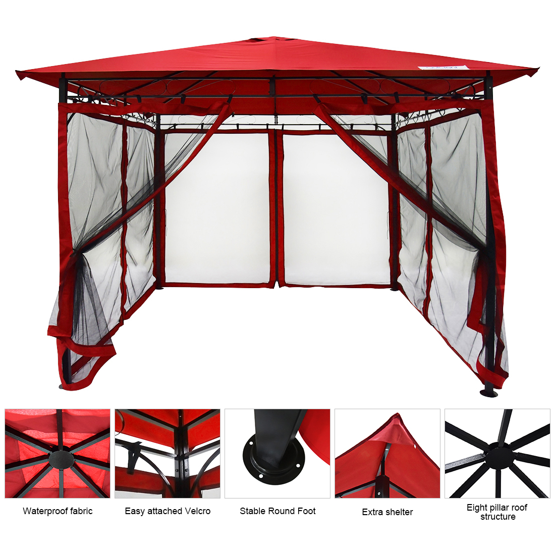 Quictent 10x10 ft Metal Gazebo Screened Grill Gazebo Canopy Backyard Shelter Waterproof