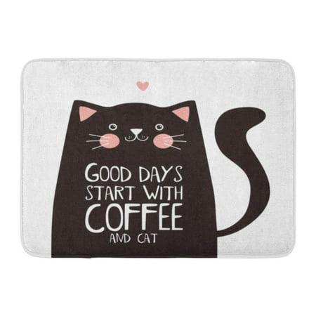 LADDKE Brown Cute Kawaii Black Cat Good Days Start Coffee Lettering Funny Doormat Floor Rug Bath Mat 23.6x15.7 inch
