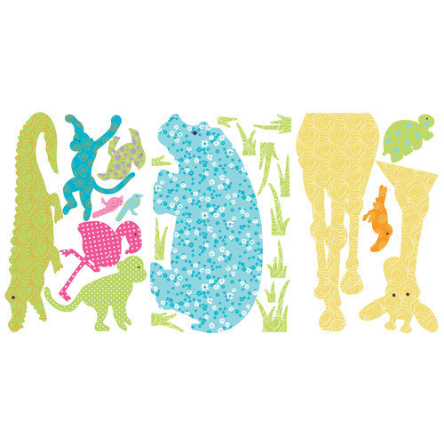 Colorful Animal Silhouettes Large Wall Accent Sticker Set