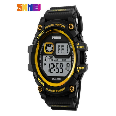 SKMEI Fashion Multi-function 50M Water-Proof Men Women Sports Watch Backlight Dual Time Unisex Electronic Outdoor Casual Wristwatch Alarm Chronograph Countdown 4 Colors