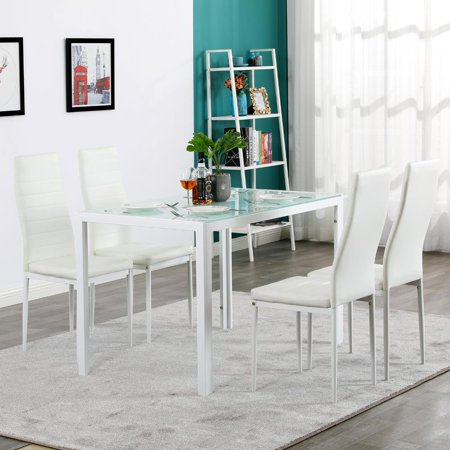 UBesGoo 5PCS Dinning Set Assembled Tempered Glass & Iron Dinner Table And High Backrest Dining