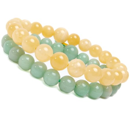 Adventurine Gemstone (FROG SAC 2 Semi-Precious Bracelets - Unisex Healing Bracelets Beaded with Natural 8mm Semi Precious Round Gemstones - (Yellow Agate-Aventurine))
