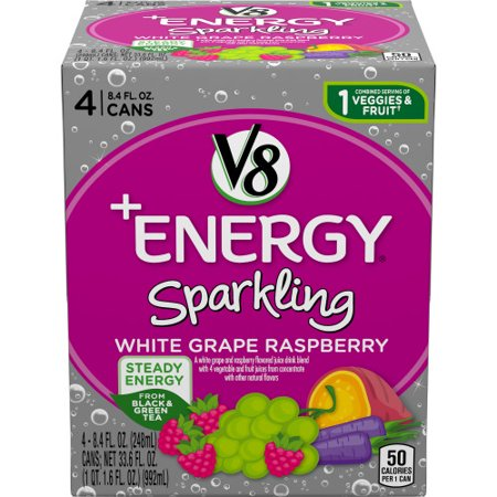 V8 +Energy Sparkling Healthy Energy Drink, Natural Energy from Tea, White Grape Raspberry, 8.4 Oz Can (4 Count) (Grape Nos Energy Drink)