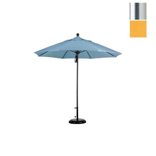9' Fiberglass Market Umbrella Pulley Open S Anodized/Olefin/Lemon