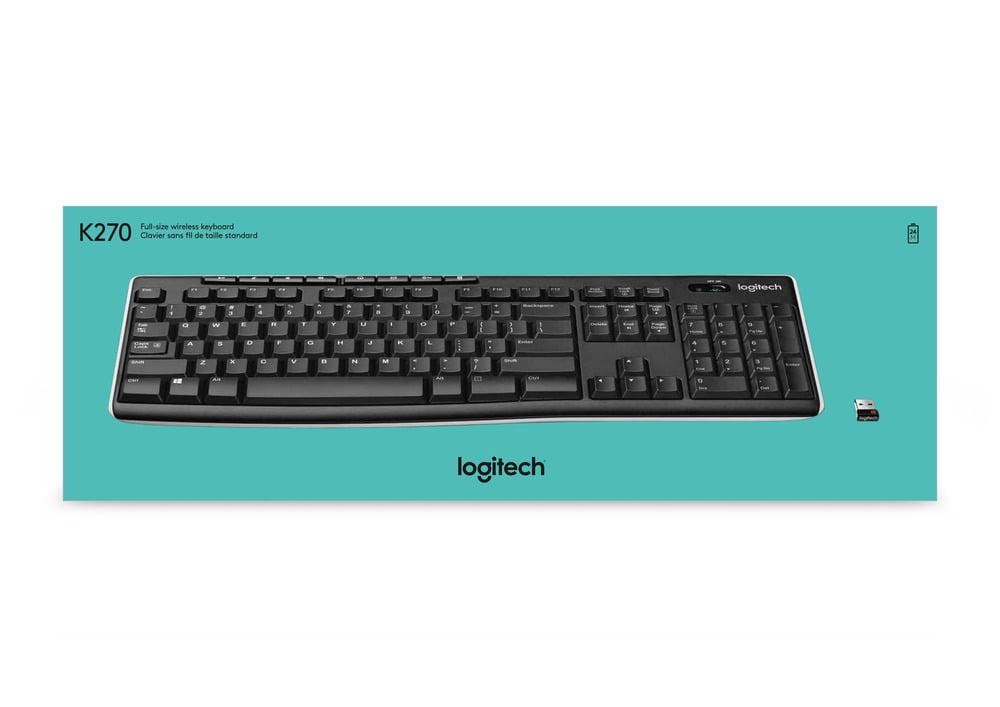 Logitech K270 Wireless Keyboard, USB Unifying Receiver, Black