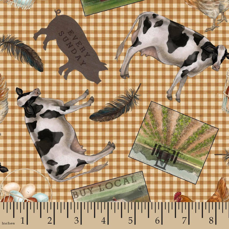 "County Farm Tossed Motifs Fabric by the Yard, Multi-Colored, 43/44"" Width"