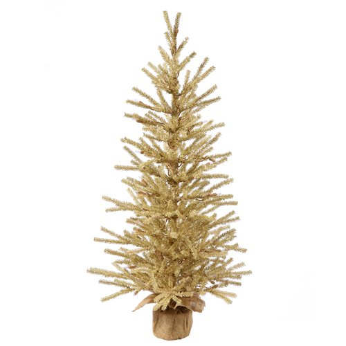 The Holiday Aisle 3' Champagne Laser Artificial Christmas Tree with Base