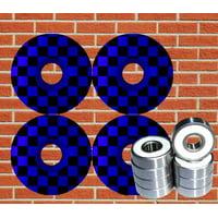 Checkered Skateboard Wheels + ABEC 9 Bearings 52mm Blue