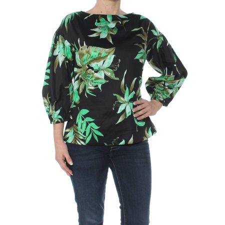 RALPH LAUREN Womens Black Tropical Print Puff Sleev Boat Neck Top  Size: (Ralph Lauren Women Models)