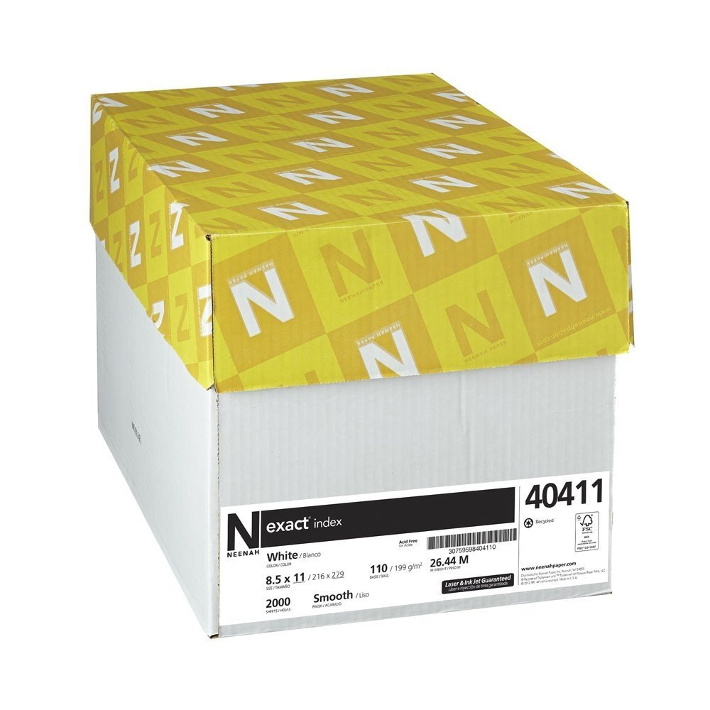 Neenah Exact Index 8.5 x 11 White Cardstock 110lb Cover 94 Bright 2000/Pack (40411)