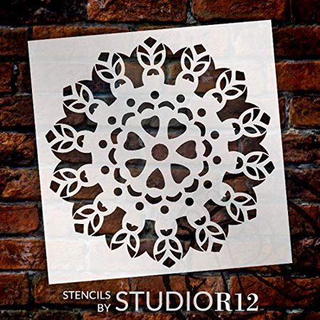 "Mandala - Tiki - Complete Stencil by StudioR12 | Reusable Mylar Template | Use to Paint Wood Signs - Pallets - Pillows - Wall Art - Floor Tile - Select Size (18"" x 18"")"