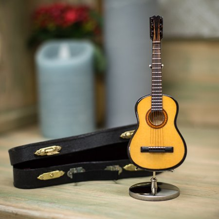 Vintage Stringed Instruments - 5 in. Steel String Guitar Music Instrument Miniature Replica on Stand with Case