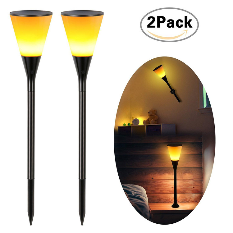 2PCS Solar Powered Torch Light Flickering Flame Light Waterproof For Outdoor Garden by