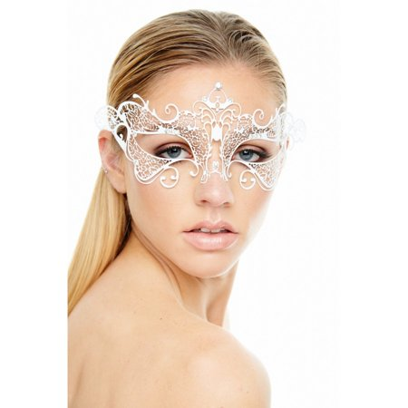 KAYSO INC BA004WH CLASSIC ROYALE VENETIAN LASER CUT MASQUERADE MASK (WHITE WITH CLEAR RHINESTONES)