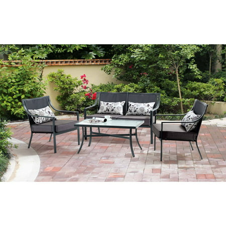 Seat Conversation Set - Mainstays Alexandra Square 4-Piece Patio Conversation Set, Grey with Leaves, Seats 4