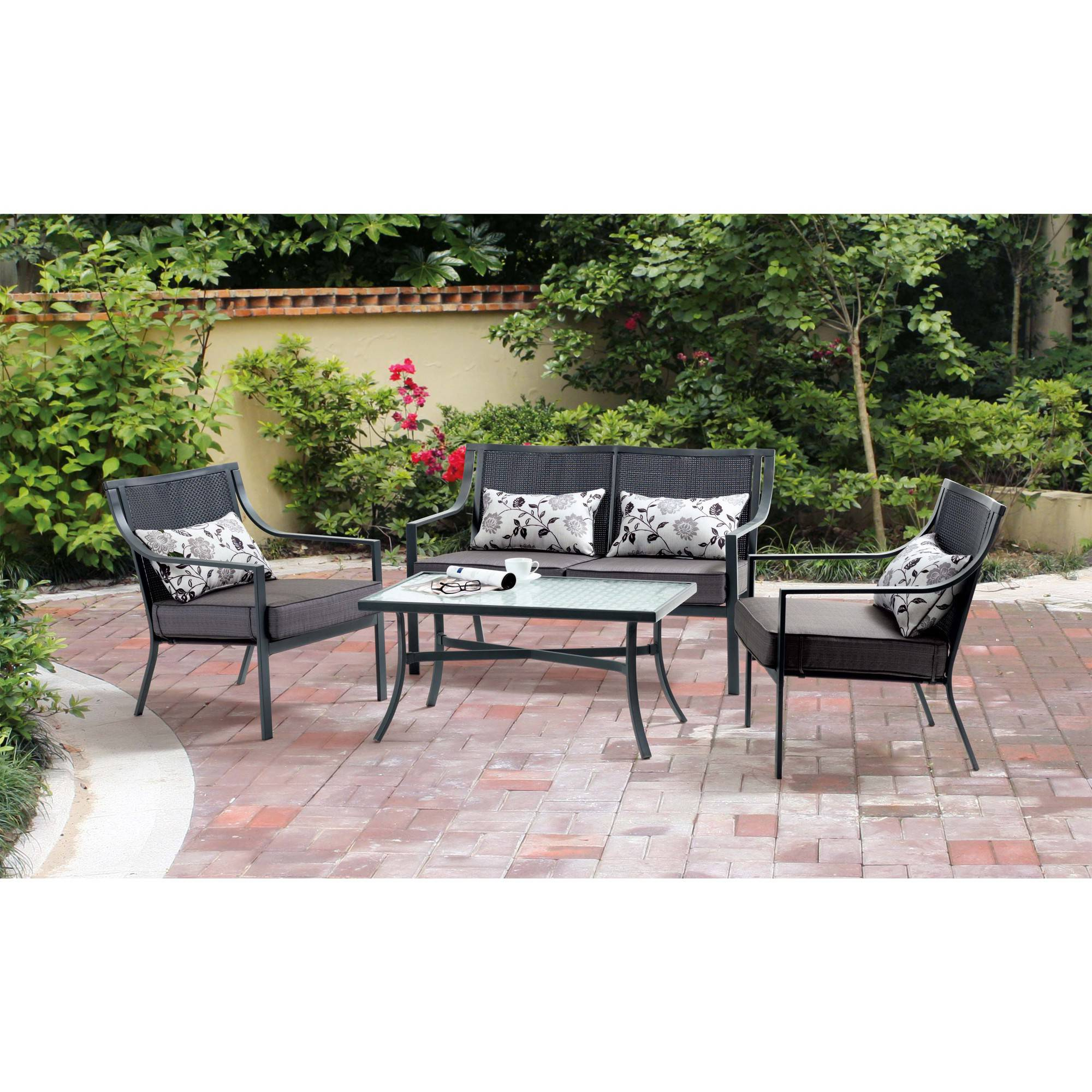 Mainstays Alexandra Square 4-Piece Patio Conversation Set, Grey with Leaves, Seats 4