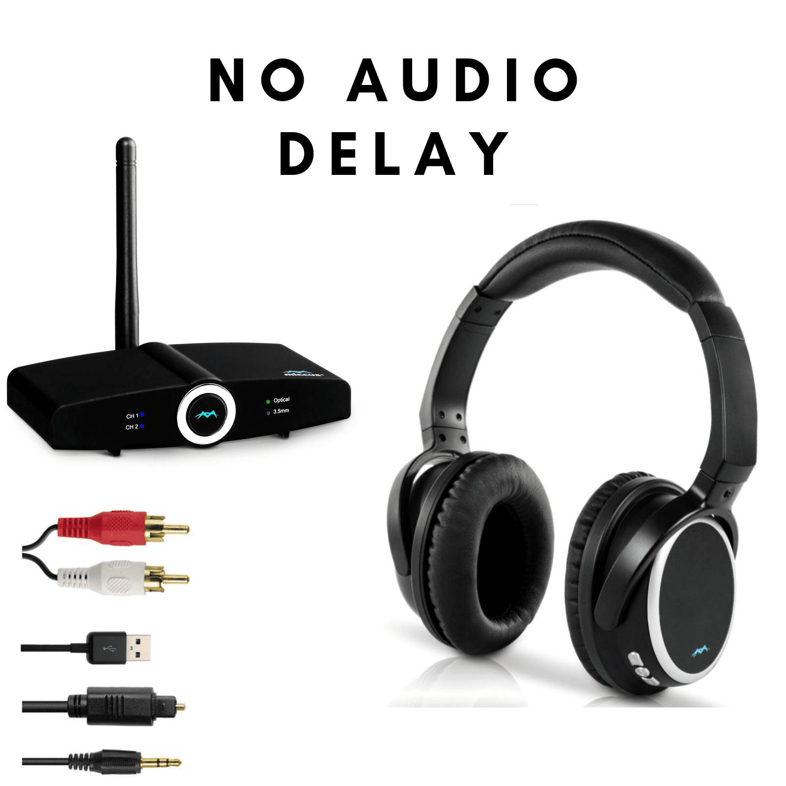 Long Range Tv Wireless Headphones With Bluetooth Transmitter System Paired For Free No Audio Delay Connect Over Ear Headphones To Tv Adapter Mic Computer Pc Desktop Miccus Home Rtx 2 0 Headset