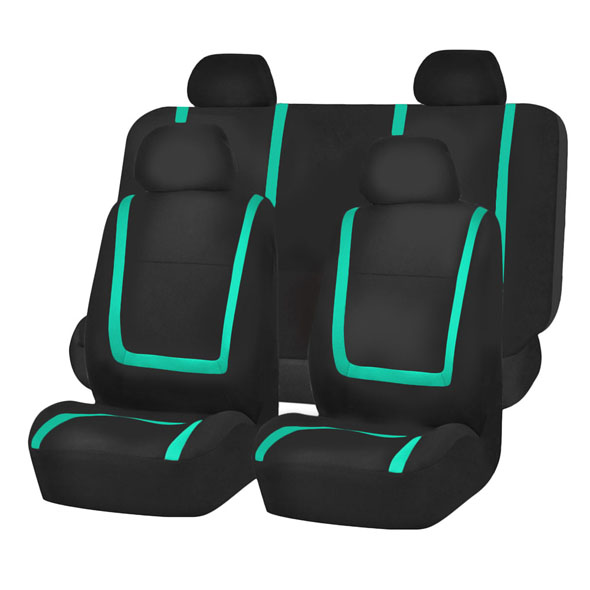 FH Group Unique Flat Cloth Full Set Seat Covers, Mint and Black