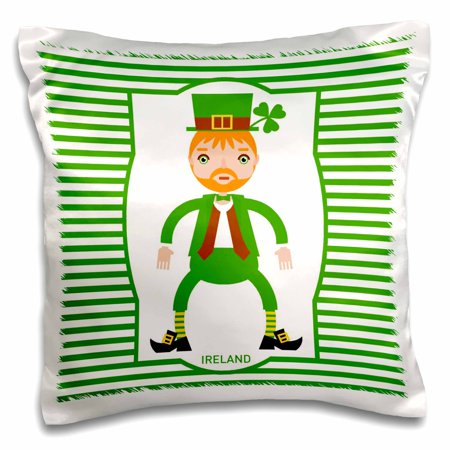 3dRose Ireland is represented by a funny man dressed in green for St. Patrick Day, Pillow Case, 16 by 16-inch