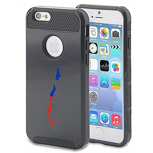 Apple iPhone 6 6s Shockproof Impact Hard Case Cover Chile Chilean Flag (Black...