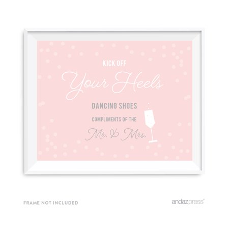 Dancing Shoes - Kick Off Your Heels Blush Pink and Gray Pop Fizz Clink Wedding Party Signs - Pop Fizz
