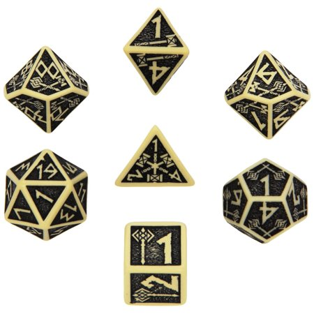 Q-Workshop Polyhedral 7-Die Set: Carved Dwarven Dice Set - Beige & Black Multi-Colored