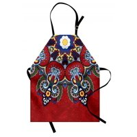 Red Mandala Apron Russian and Ukranian Ethnic Lace Like Flowers Leaves Swirls Vintage Artwork, Unisex Kitchen Bib Apron with Adjustable Neck for Cooking Baking Gardening, Multicolor, by Ambesonne