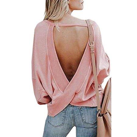 Women's Cross Backless Loose Shirt Batwing Long Sleeve Open Back Sweatshirt Blouse Tops (Cross Back Top)