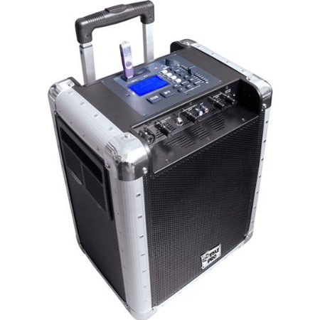 Portable PA System with Rechargeable Battery, USB Port, SD Slot, DJ Controls & Aux Inputs