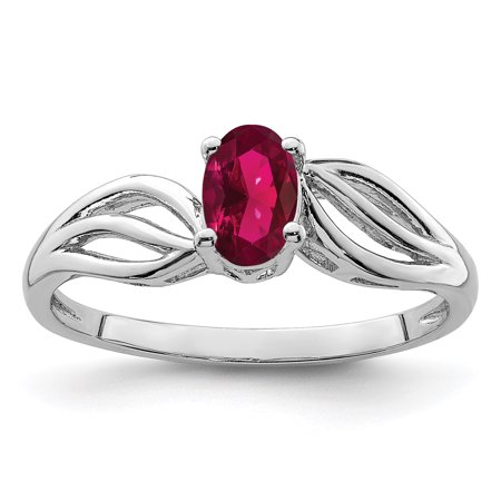 925 Sterling Silver Created Red Ruby Band Ring Size 7.00 Birthstone July Gemstone Gifts For Women For -