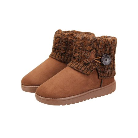 Suede Goth Boots Shoes - Meigar Winter Warm Women Snow Boots Suede Knit Booties Fur Lined Shoes