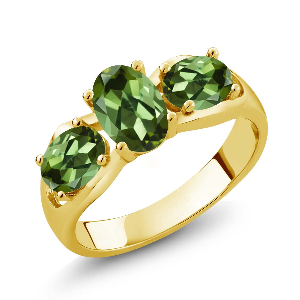 1.70 Ct Oval Green Tourmaline 18K Yellow Gold Ring by