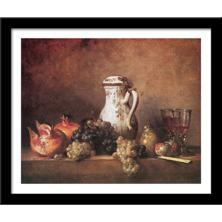 Still Life with Grapes and Pomegranates 34x28 Large Black Wood Framed Print Art by Jean Baptiste Simeon Chardin