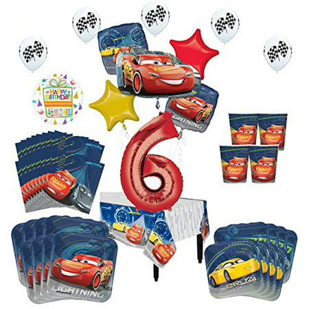 Disney Cars 6th Birthday Party Supplies 8 Guest Kit and Balloon Bouquet Decorations](Disney Cars Decorations)