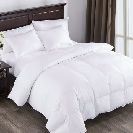 Puredown All Seasons White Down Comforter 100% Cotton 600 Fill Power, Twin Size,