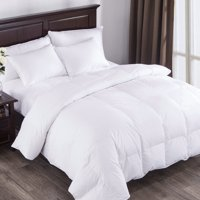 Puredown All Seasons White Down Comforter 100% Cotton 600 Fill Power, Twin Size, White