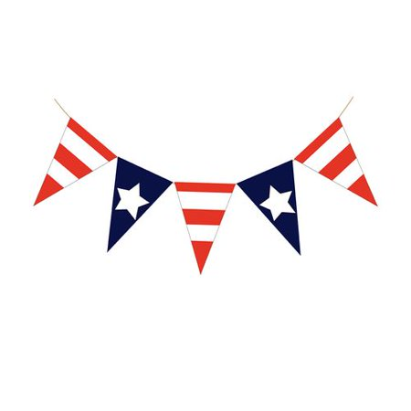 KABOER 1 Pcs American Independence Day Flag Bunting Banner 4th of July Decorations  Indoor Outdoor Hanging Sign - 4th Of July Bunting Decorations